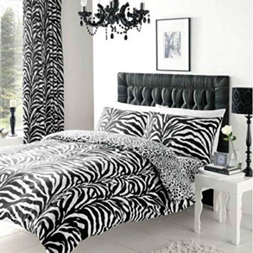 WOT New Zebra Skin Print Black and White Duvet Cover Pillow Case Bedding Set 3 Sizes (Double)