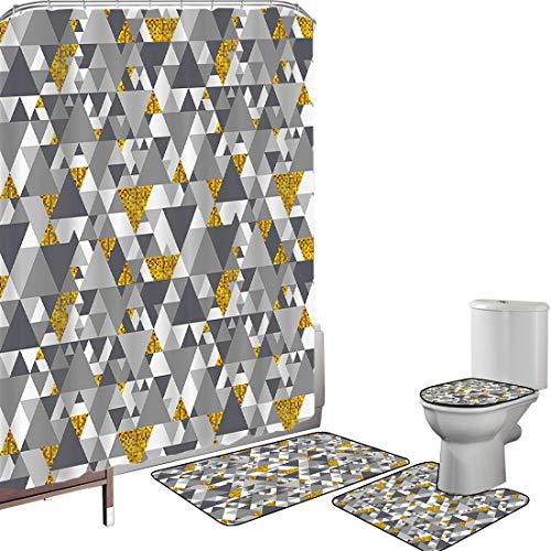 Juego de cortinas baño Accesorios baño alfombras Gris y amarillo Alfombrilla baño Alfombra contorno Cubierta del inodoro Zig Zag Triángulos Diseño futurista con detalles amarillos,Crema marrón claro,