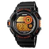 SKMEI Boys Sport Style Digital Watch Waterproof 7 Colors Changeable LED Backlight Wristwatch Men PU...