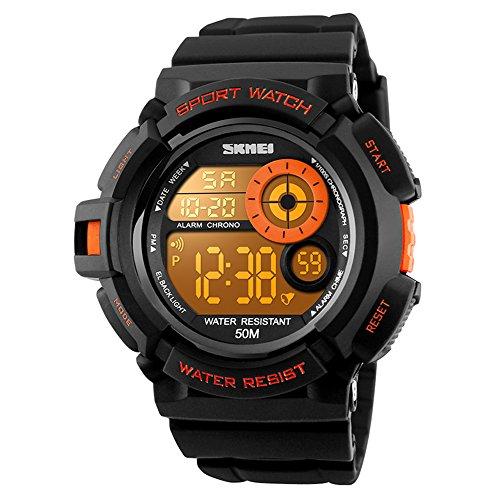 SKMEI Boys Sport Style Digital Watch Waterproof 7 Colors Changeable LED Backlight Wristwatch Men PU Band (Orange)