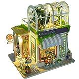 CUTEBEE Miniatura de la casa de muñecas con Muebles, Equipo de casa de muñecas de Madera DIY, más Movimiento de música