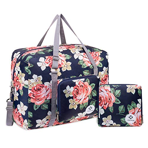 For Airlines Foldable Travel Duffel Bag Tote Carry on Luggage Sport Duffle Weekender Overnight for Women and Girls (Blue Peony-1109)
