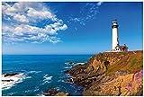 Premium XXL Vliestapete Leuchtturm auf einem Felsvorsprung - Blauer Himmel - Größe: 400 x 267 cm
