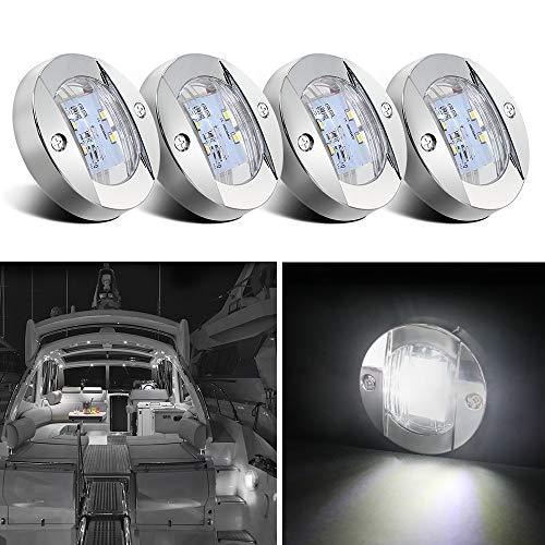 Obcursco Boat Stern Light, 12V Boat LED Transom Mount Stern Anchor Lights Light, Perfect for Night Fishing. (4Pcs, White)