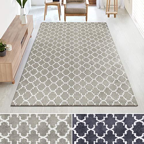 casa pura Kurzflor Teppich MARRAKESCH mit marokkanischem Muster | Rutschfester Latex-Rücken | Flurteppich, Wohnzimmerteppich, Küchenteppich, Schlafzimmerteppich | 2 Farben (beige, 100x145 cm)