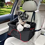 ROODO Dog/Cat Booster Seat for Car from/Back Seat Height Adjustable Perfect for Small and Medium Pets Up to 22Lbs Reinforced Dog Car Booster Seat Harness with Seat Belt (Special Black)