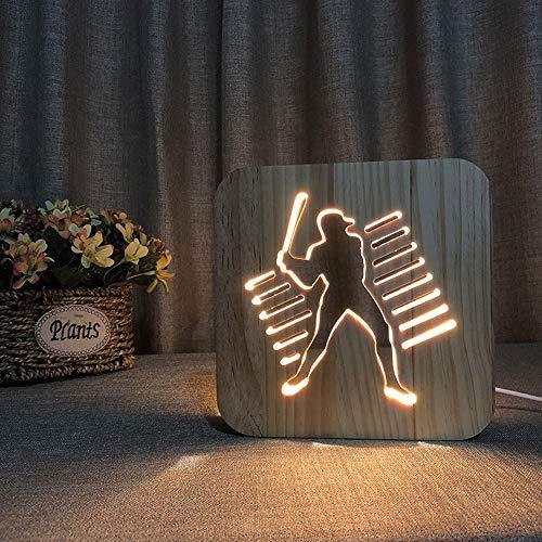 WWFF Wunderschönen Spiel-Baseball-Holz-Nachtlicht 3D Hohle USB Kreative Dekorative LED-Tischlampe Schlafzimmer Kinderzimmer Geburtstag 19 * 19cm Schreibtisch Machen Sie Ihr Zuhause luxur