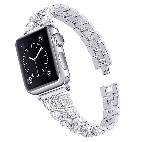 CHENPENG Strap Compatible with Apple Watch Stainless Steel Watch Band Strap, Rhinestone Replacement Metal Bracelet, for Man Woman,silver,42mm