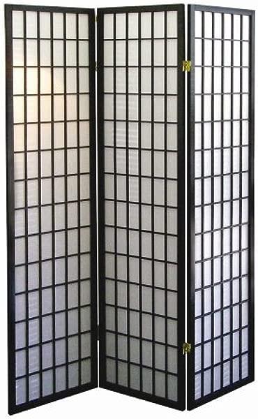 ORE International 3 Panel Room Divider Black