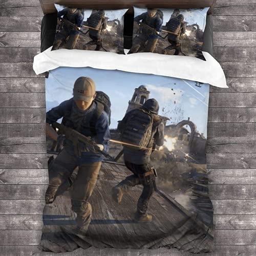Juego de ropa de cama The Last of Us, ropa de cama 135 x 200 cm, juego de funda nórdica y funda de almohada de 50 x 75 cm, 100% microfibra 3D (Ellie3,220 x 240 cm + 80 x 80 cm x 2)