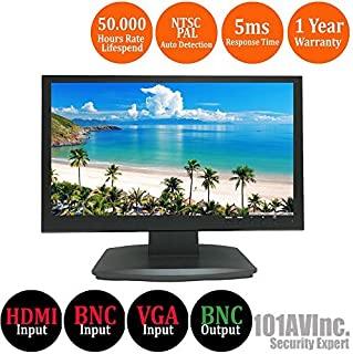 101AV Security Monitor 19.5-Inch True Full HD 1080P 1920x1080 HDMI VGA and Looping BNC Output Wide Screen Audio Video Display Computer PC Monitor for CCTV DVR Home Office Surveillance Optional Mount