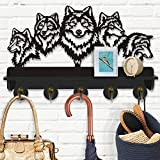 Wildlife Wolf Decoration Forest Wolf Coat Hooks Rustic DIY Coat Rack Wall Mounted Wooden Coat Hooks - Living-Room Mounted Coat Rack and Upper Shelf for Storage. (Wolf)