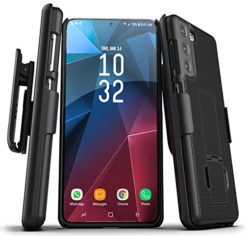 Encased DuraClip Designed for Samsung Galaxy S21 Belt Clip Case (2021) Slim Phone Cover with Holster - Black