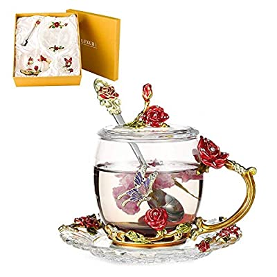 Lustrique Rosaria Tea Cup Set Lead-free Glass & Enamels Tea Cup, Coffee Mug Butterfly Flower Tea Cup Gift for Women Birthday Valentines Day Wedding (Short Tea Cup+Spoon+Cover Lid+Saucer) Red