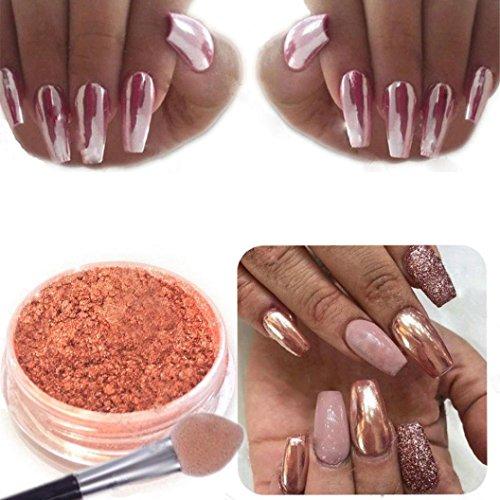 Polvo para manicura de ; brillante, cromado y efecto espejo, oro rosa