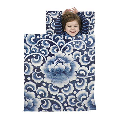 Die Nacht Nickerchen Matte alten chinesischen blauen und weißen Porzellan Kinder Nickerchen Matte weiche Mikrofaser leichter Schlafsack Kinder Mädchen perfekt für Vorschule, Kindertagesstätte und Übe