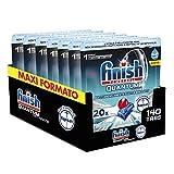 Finish Pastillas para lavavajillas Quantum Ultimate con potencia de Napisan, 140 lavados, 7 paquetes de 20 pastillas