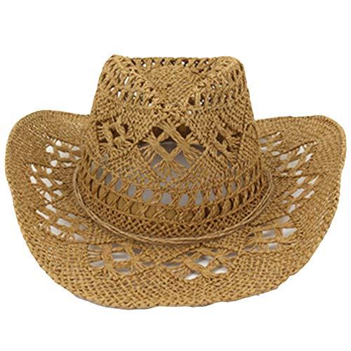 Bontand Estate Esterna degli Uomini Donne Occidentali del Cowboy Cappelli Tessuti A Mano Cappello di Paglia Traspirante Beach Protezione di Jazz Sunhat per Unisex Khaki