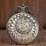HUANGDD Vintage brújula topografía y Grabado Reloj de Bolsillo de Cuarzo Hombres Mujeres Collar Colgante Reloj Fob Regalos para Hombres niños-predeterminado