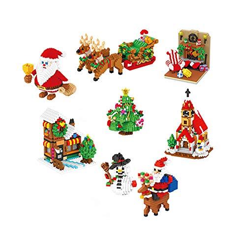 SGBL 7 en 1 Mini Bloques de Construcción Iglesia de Navidad/Árbol de Navidad/Escena Interior/Papá Noel/Coche de Trineo/Casa Pequeña/Muñeco de Nieve Kits de Modelos 3D Juguete Educativo