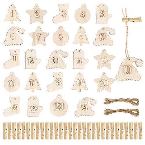 FHzytg 24 Stück Adventskalender Zahlen Holz Adventskalender Verzierung, Zahlen Holz Adventskalender, Adventskalender DIY Zahlen für Tüten mit 24 Holzclip & 24 Juteschnur für Geschenk Verpackung