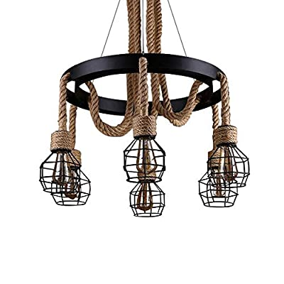 Belief Rebirth Hemp Rope Chandelier 6 Lights Cage - Vintage Industrial Rustic Pendant Lighting Fixture - Height Adjustable Wrought Iron Ceiling Hanging Lamp Lantern for Restaurant Kitchen Island Bar