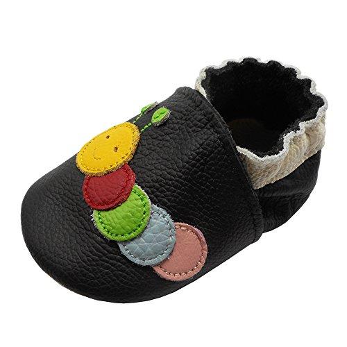 YIHAKIDS - Primeros Pasos de Piel Lisa Unisex bebé, Negro (Negro), env. 6-12 Mois