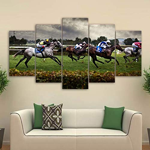 MMLZLZ 5 Canvas Paintings HD Printed Paintings Modular Posters 5 Panel Horse Racing Landscape Home Decoration Modern Wall Artwork Pictures Canvas
