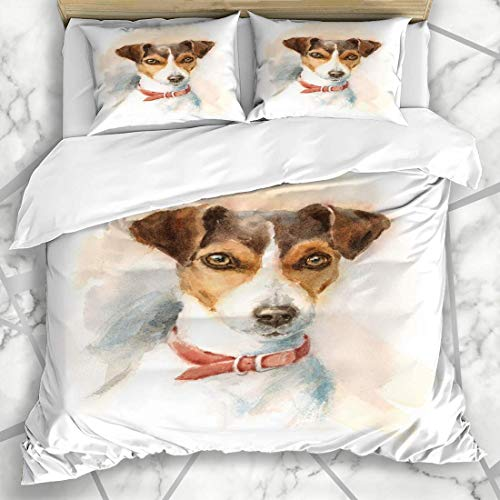 HANILUC Bedding - Duvet Cover Set Artistic Painting Watercolor Dog Jack Russell Terrier Breeds Brush Domestic Microfiber New Three-Piece Set Of Various Patterns Custom 2 Pillowcase Quilt cover 200*200