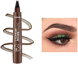 Lápiz de cejas líquido 3D, lápiz de tatuaje para cejas, 4 puntas de horquilla líquida para maquillaje de ojos, larga duración, impermeable, a prueba de manchas, aspecto natural (02#Marrón oscuro)