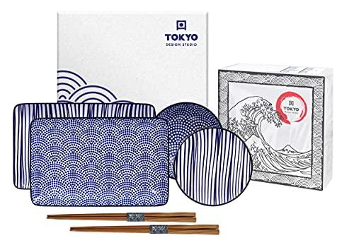 TOKYO design studio Nippon Blue Sushi-Set blau-weiß, 6-TLG, 2X Sushi-Platten 2X Saucen-Schalen, 2X Essstäbchen, asiatisches Porzellan, Japanisches Design, inkl. Geschenk-Verpackung