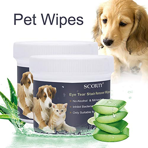 SCOBUTY Pet WipesPet Eye WipesPet Tear Stain WipesNatural Tear Eye Stain Remover Pads for Pets Cleansing Eye WipesEyes Gentle Tear 200 Pads Stain Wipes