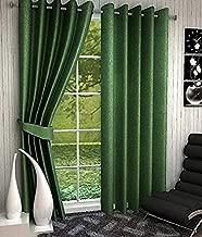 Home Ready 2 Piece Eyelet Polyester Long Door Curtain Set-Size-7 feet Long, Dark Green