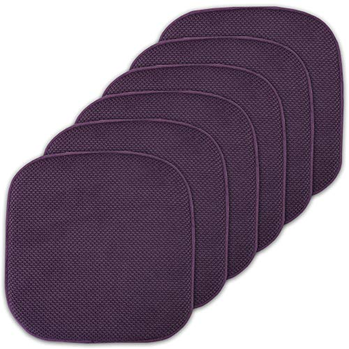 Sweet Home Collection Cushion Memory Foam Chair Pads Honeycomb Nonslip Back Seat Cover 16' x 16' 6 Pack Eggplant Purple