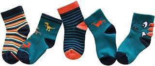 FENICAL, 5 pares de calcetines casuales calcetines de tobillo de dibujos animados de otoño invierno lindos medias para niños niños pequeños (talla s traje para 1-3 años)