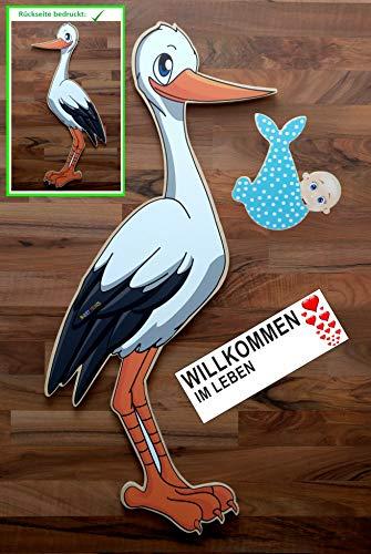 SET - 95 cm Babystorch aus HOLZ & Baby JUNGE & Beschriftungstafel für draußen Geburt Storch-Holz Klapperstorch Holzstorch BLAU (ZWEISEITIG bedruckt, 95x45 cm)