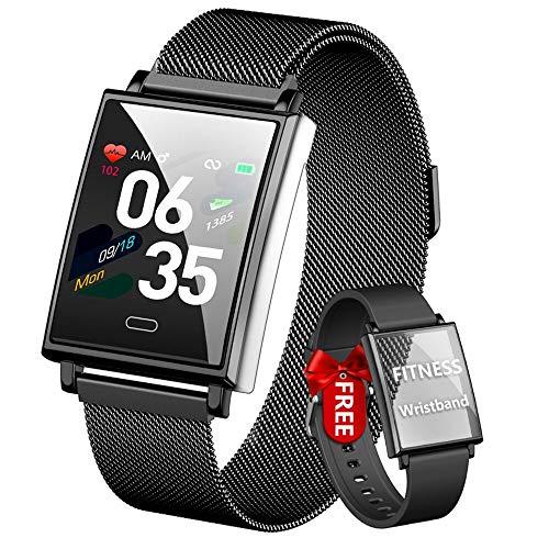 HOFIT Smartwatch Uomo Fitness Tracker, Orologio Fitness Uomo,Orologio Smartwatch Impermeabile IP68,Orologio Pressione Sanguigna Cardiofrequenzimetro,Contapassi Orologio Uomo Con 2 Cinturini