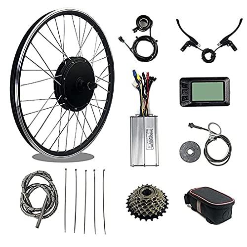 XYEJL 48v 1000w Kit Conversión Bicicleta Bicicleta Montaña Eléctrica Impermeable, Piezas Conversión Rueda Delantera/Trasera Bicicleta Eléctrica Montaña, con Pantalla LCD7,RearWheel-20inch