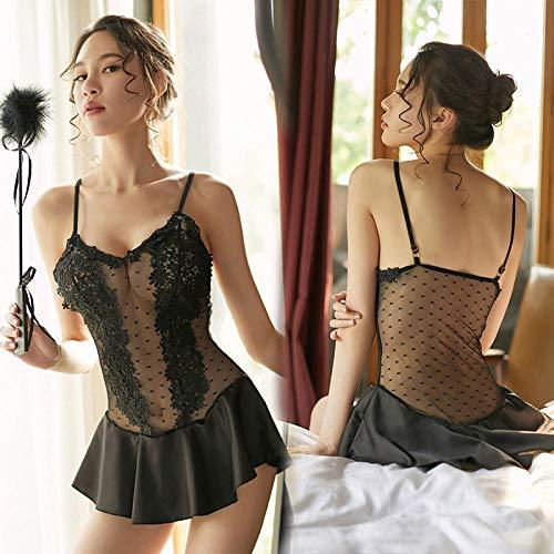 Gdofkh Einteiliger Pyjama Damen Leibchen dünne transparente Spitze Versuchung sexy Unterwäsche Mesh Perspektive sexy gepunkteten Rock