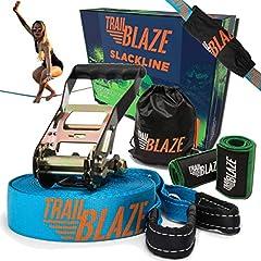 Trailblaze Slackline Kids met Tree Protection - Full Slackline Set 18.5m voor beginners - Ideale activiteit voor kinderen en gezinnen buitenshuis - Eenvoudig te bouwen Balancier Rope*