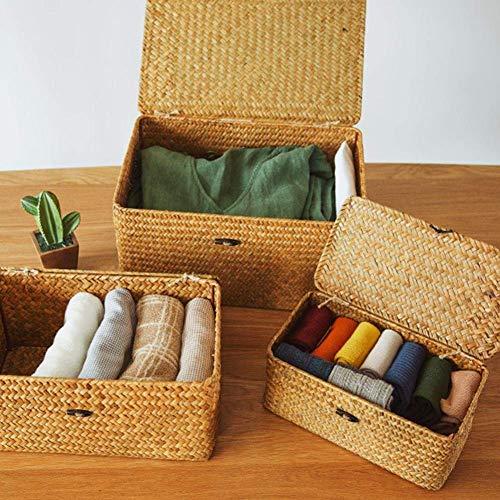 Planken Sue Supply Vintage Style Storage Basket, Handmade Straw Woven Storage Basket, Handmade Straw Woven Storage Basket met deksel Makeup Organizer Manden Rattan Jewelry Box Flower Pot Rack XIUYU