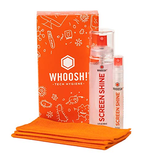 WHOOSH Screen Cleaner Kit – Best for – Smartphones iPads Eyeglasses eReaders LED LCD amp TVs – Includes 2 Bottles 34oz03oz 3 Premium Cloths