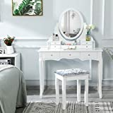 Tiptiper Vanity Table with 7 Drawers and 1 Movable Storage Box, Makeup Vanity Set with Mirror and Stool, White