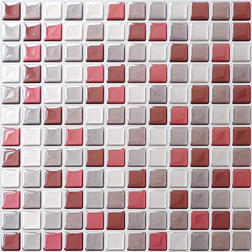 SHINGONE 4 Stück Peel and Stick Transfers Resistente Fliesenaufkleber Backsplash für Küche, selbstklebendes 3D-Mosaik-Stil Wandfliesen Badezimmer, rot