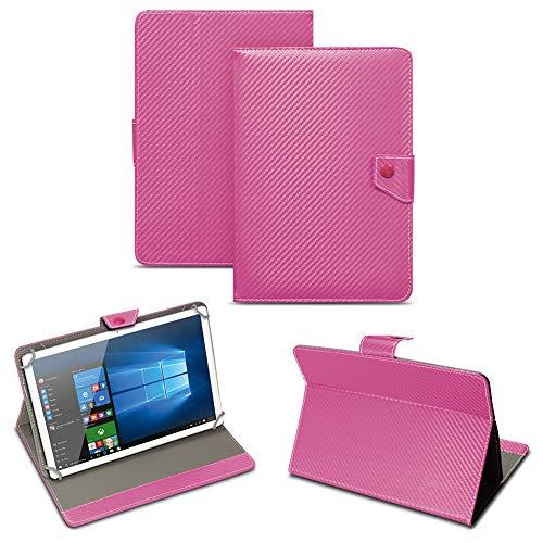 NAUC Universal Tablet Tasche mit Standfunktion Hülle für Blaupunkt Endeavour 101M 101G 101L Tablet Schutztasche in Edler Carbon-Optik Schutzhülle Cover Hülle, Farben:Pink