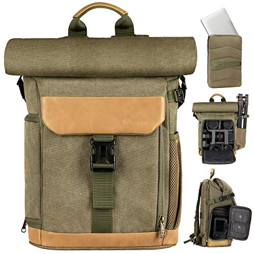 TARION Camera Backpack Rolltop Photography Backpack with Removable Laptop Case 2 in 1 Large Capacity Camera Bag with Waterproof Rain Cover for DSLR SLR Cameras (SP-01 Green)