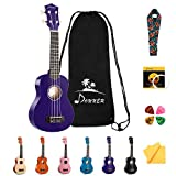 Donner DUS-10P Soprano Ukulele Ukelele Beginner Kit for Kids Students 21 Inch Rainbow with Bag, Strap,Strings, Tuner, Picks, Polishing Cloth - Purple