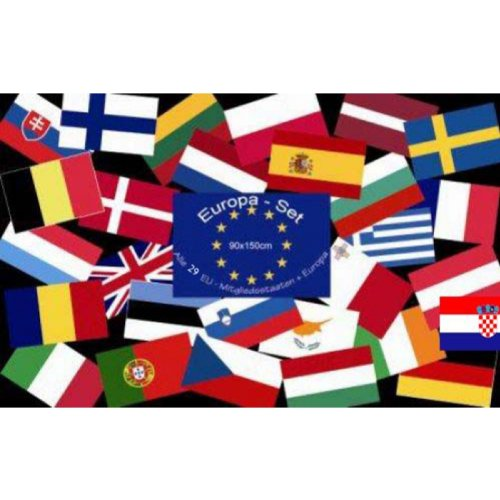 Europa-Set aller Mitgliedsstaaten + Europa = 29 Flaggen