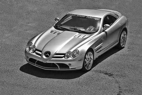 Mercedes Benz Slr Mclaren Left Front Black And White Hd Poster Super Car 24 X 16 Inch Print Posters Prints
