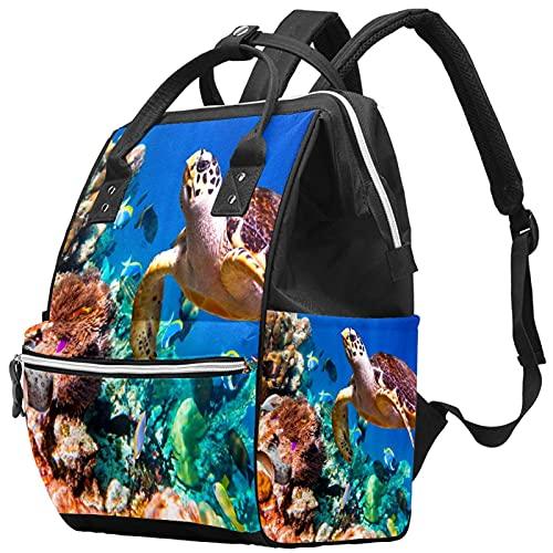 WJJSXKA Zaini Borsa per pannolini Laptop Notebook Zaino da viaggio Escursionismo Daypack per donna Uomo - Tartaruga oceanica